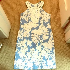 White and Baby Blue Midi Dress by Taylor